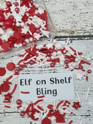 Elf On Shelf Bling Merry Xmas Red White Stars Jimmies Edible Sprinkles Cake Decorations