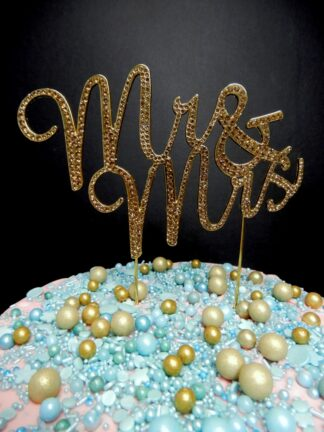 Gold Diamante Mr And Mrs Script Font Cake Topper Decoration