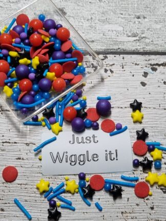 Just Wiggle It Purple Yellow Black Red Stars Emma Edible Cake Sprinkles Decorations