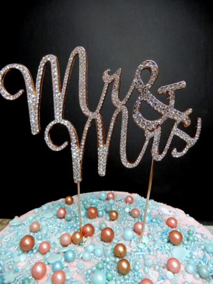 Rose Gold Diamante Mr And Mrs Script Cake Topper Decoration Diamontees