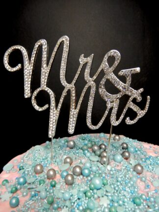 Silver Diamante Mr And Mrs Script Cake Topper Decoration Diamontees