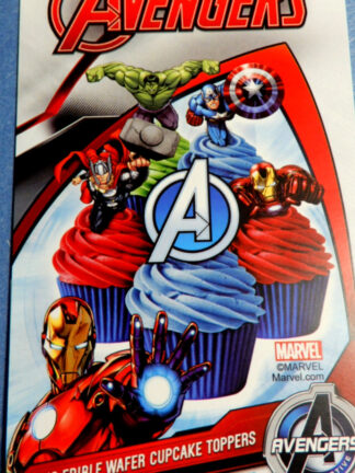 Avengers Super Hero Cake Packet Display Cupcake Wafer Deocrations 16 Precut Pop Out Iron Man Captain America Hulk Thor