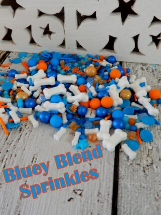 Bluey Blend Of Colours With Bones Small And Large Blue Orange Baubles Cany Rock Jimmies Pearls Sprinkles Decorations Cup Cakes