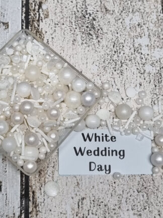 Pure White Wedding Pearls Sprinkles Rock Candy Sequins Edible Cake Decorations