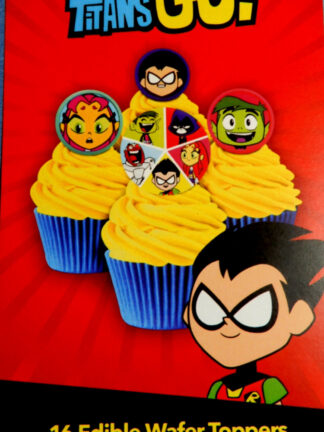 Teen Titans Go Super Hero Cake Packet Display Cupcake Wafer Decorations 16 Precut Pop Out Beast Boy Raven Robin Cyborg Starfish
