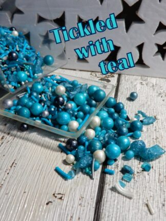 Tickled With Teal Silver White Wishes Cup Cake Decorations Sprinkles Edible Pearls Rock Starts Hearts Wedding Party