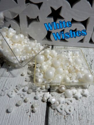 White Wishes Cup Cake Decorations Sprinkles Edible Pearls Rock Starts Hearts Wedding Party