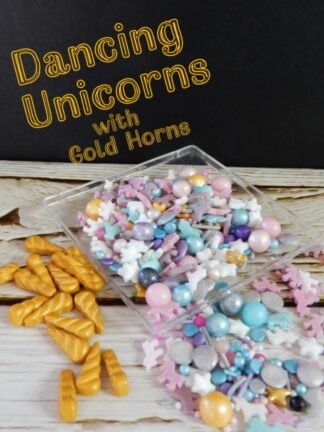 Dancing Unicorn Sprinkles Mix With Gold Horns Cupcake Decorations Pink Blue Purple Aqua Silver