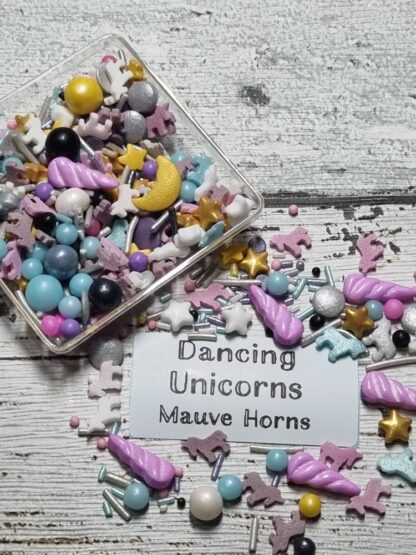 Dancing Unicorn With Mauve Horns Edible Sprinkles Cake Decorations