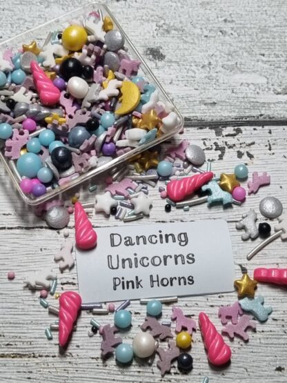 Dancing Unicorn With Pink Horns Edible Sprinkles Cake Decorations