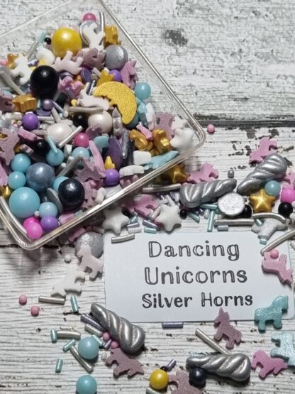 Dancing Unicorn With Silver Horns Edible Sprinkles Cake Decorations