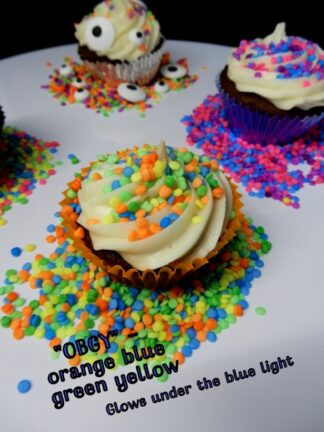 Obyg Orange Blue Yellow Green Under The Blue Light Sprinkles Sequins Edible Cake Decorations