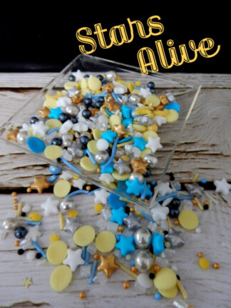 Stars Alive Yellow Gold Black Blue Moons Edible Sprinkles