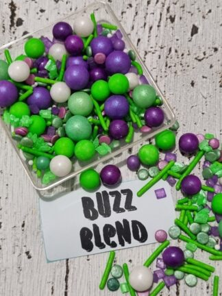 Buzz Blend Mix Of Edible Cake Decorations Sprinkles Lime Green Purple White