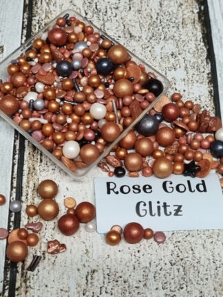 Rose Gold Glitz Pearls Sprinkles Rock Candy Sequins Edible Cake Decorations (2)
