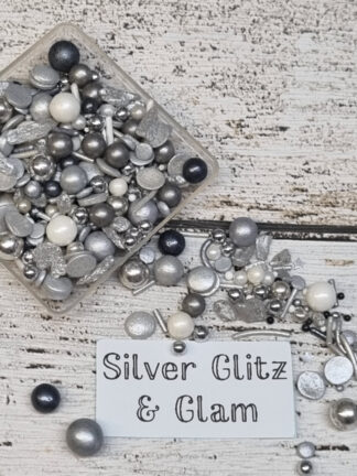 Silver Glitz And Glam White Steel Grey Cake Decorations Edible Sprinkles Christmas Celebrations