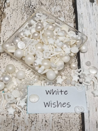 White Wishes Heart Edible Sugar Pearls Stars Edible Cake Sprinkles Decorations