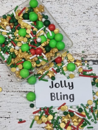Jolly Bling Merry Xmas Red Gold White Green Edible Sprinkles Cake Decorations Christmas