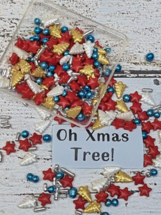 Oh Xmas Tree Merry Red Silver White Blue Gold Edible Sprinkles Cake Decorations