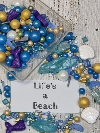 Lifes A Beach Purple Teal Blue Gold White Sea Ocean Summer Time Edible Sprinkles Cake Decorations